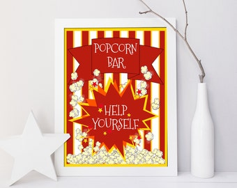 Popcorn Bar Help Yourself, Printable red yellow party decor, Digital graduation birthday table sign or poster,  jpg pdf 5x7 8x10 14x18