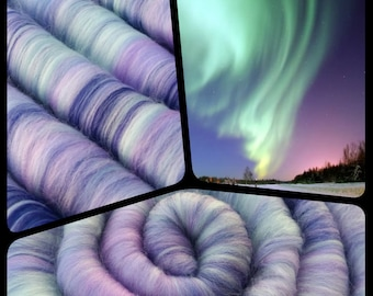 "Rolags - Punis - ""Aurora Borealis"" - Fiber For Handspinning - Ready To Ship"