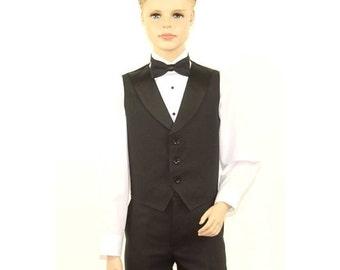 Kids Black Full Back Tuxedo Vest with Black Lapel