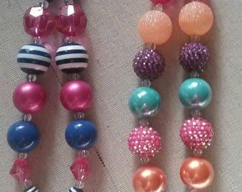Personal Initial M Bubble Gum Bead Necklace  (you pick) each