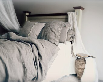 """Pure, genuine European linen bedding: """"Provincial Living"""" duvet/quilt cover with linen lace by House of Baltic Linen"""