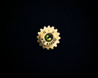 Bullet Lapel Pin Western Steampunk Cog Mens Tie Tack Groomsmen Gift Brass Shell Ammo Birthstone Jewelry Swarovski Crystal Remington 45
