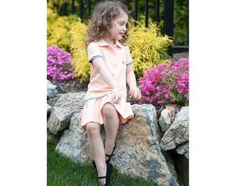 Toddler Girls Pima Cotton Peach Orange Piqué Pleated Polo Dress Tennis Easter Dress