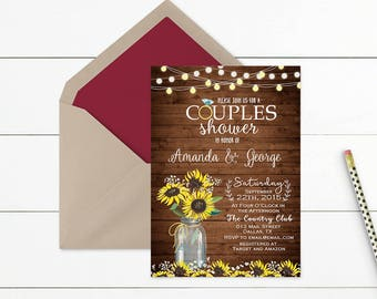 Sunflower Rustic Couples Shower Invitation, Couples Shower Invite Printable, Rustic Wedding Shower Invitation, Mason Jar Wedding Shower