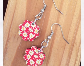 Laser Cut Wooden Drop Flower Earrings
