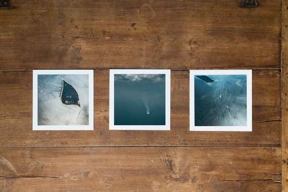 SHIPS series - triptych #1 - 3 Fine art square prints