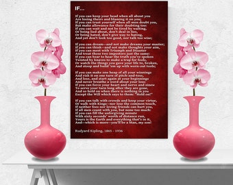 Rudyard Kipling Wall Picture IF POEM red Wall Art Canvas Print A1/A2/A3/A4