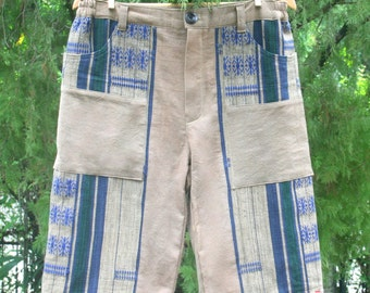 Ethnic Naga Tan Mens Shorts In Hand Woven Tribal Patterns And Natural Cotton - Luke