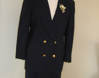 1980's Dior Wool Suit Navy Blue