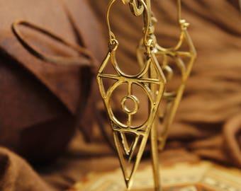 Triangle gold earrings, Geometric earrings, Long dangle earrings, Festival earrings,Hippie earrings, tribal earrings,egyptian earrings brass