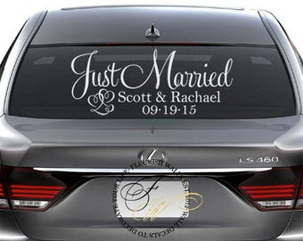 Just married car sign custom vinyl decal just married car sign personalized wedding sign wedding car decoration wedding car decal junglespirit Choice Image