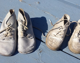 2 Pair Of Precious Adorable Baby Toddler Childs Shoes 1910's 1920's Era Vintage