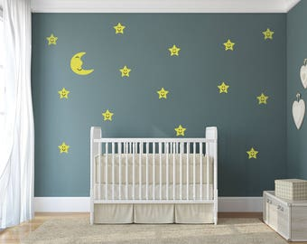 Moon And Stars - Night Sky Theme Nursery Wall Art - Night Sky Decals For Baby Boy And Baby Girl Rooms