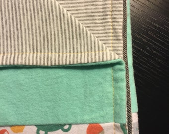 Baby Blanket with knit organic cotton and soft flannel