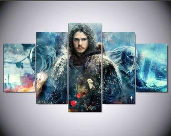 5 Panels Game of Thrones Jon Snow Daenerys Targaryen White Walker Canvas Art Multi Grouped Art Work asoiaf GOT