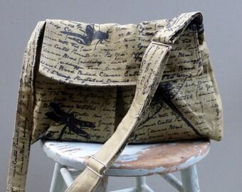 Green meddenger bag - Dragonflies - Adjustable Strap - Key Fob