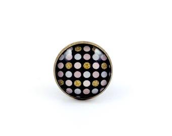 Large bronze ring * Cabochon * polka dot gold gray Roses