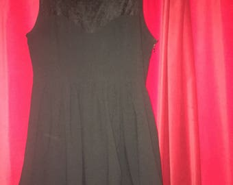 Jario black dress with sweetheart top and heart lace detail