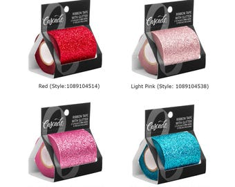 """Glitter Ribbon Tape,  2 1/2"""" Wide,  Cellophane Backing, Choose From 10 Color Options"""