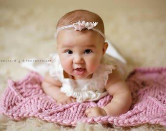 Knit Newborn Blanket Prop, Newborn Photo Prop Blanket, Newborn Posing Blanket, Baby Blanket Knit, Baby Blanket Girl, Knit Baby Blanket Pink
