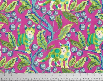 Berrybird Disco Kitty Cotton Woven, Tabby Road by Tula Pink