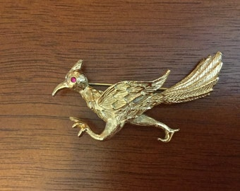 Napier gold tone road runner bird