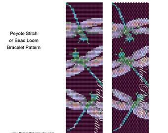 Purple Dragonfly Peyote Stitch Bracelet Pattern - Bead Loom Weaving Pattern