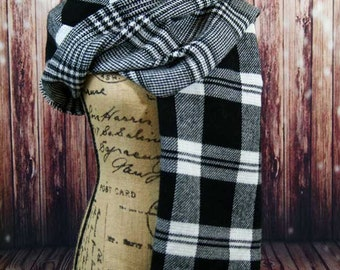 Black and White Reversible/Two Sided Blanket Scarf in Tartan, Plaid with Fringed Sides