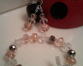 Assorted Beaded Cross Diamond Bracelet - Blinged Cross Pink Rondell Blinged Cross with Rhinestones beads - Christ Inspired Diamond Bracelet