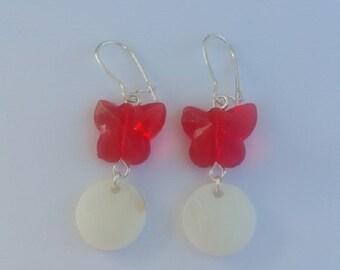 Mother of Pearl butterfly, red pattern earrings