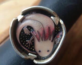 Axolotl cloisonne enamel ring