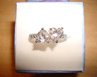 Double Heart White Sapphire 14k White Gold Over Sterling Silver Ring Size 7