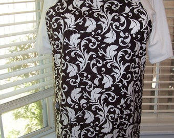 Plus Size Apron, Women's Plus Size Apron, Ooh La La Apron, Black and White Apron, Hostess Apron, Women's Bib Apron, Acanthus Leaf Apron