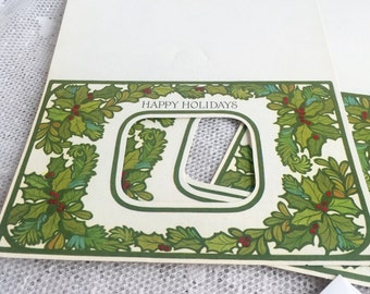 Vintage Hallmark Unfolded Christmas Cards / Photo Holly Berry Greeting Cards / Cards and Envelopes