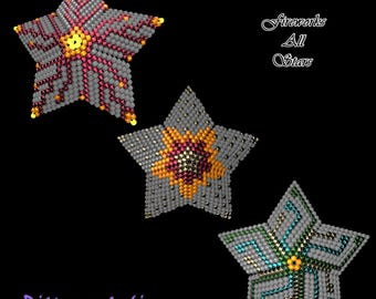 Beading Pattern/Tutorial FIREWORKS All Stars 3D PEYOTE STAR + Basic Instructions