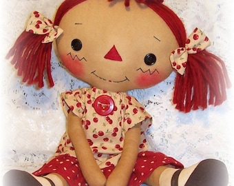 Primitive doll pattern, Raggedy Ann pattern, Cloth Doll Pattern, Rag Doll Pattern,  PDF sewing Pattern, primitive annie doll Pattern