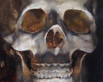 "Skull Original Oil Painting ""J"" by Kristina Laurendi Havens"