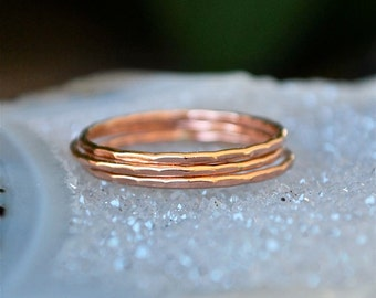 Rose Gold Stacking Ring- One Ring - Midi Ring - Knuckle Ring - Stack Ring - Recycled Gold ring
