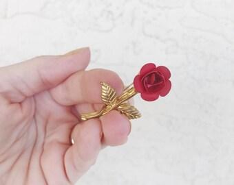 Vintage Red Rose Brooch
