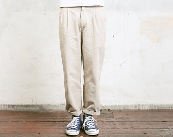Vintage Men Chinos . 90s Beige Chino Pants Trousers Mens 90s Oldschool Pants 90s Nerd Trousers Dad Pants . size Small S