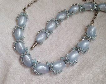 Pale Blue Moonglow Necklace and Bracelet Enamel Flowers