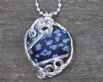 Snowflake Obsidian Heart Stone Pendant
