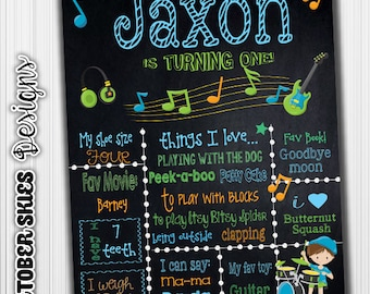 Rock N Roll Birthday Chalkboard / Music / Digital / Custom Birthday Chalkboard / Printable / any age
