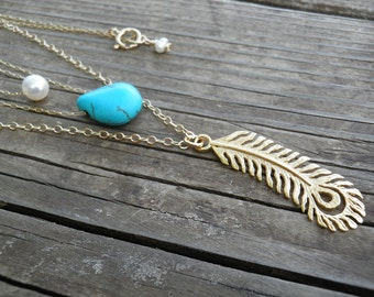 Triple Turquoise Layered Gold Necklace, Layer Necklace, Peacock Feather Tiny Pearl Necklace Turquoise Teardrop Necklace, Elegant Necklace