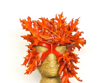 Leather Dryad Mask, Autumn Leaf Oak Tree Costume , Oak Greenwoman Greenman Forest Spirit Fae Artist Designed Wearable Art Halfmask