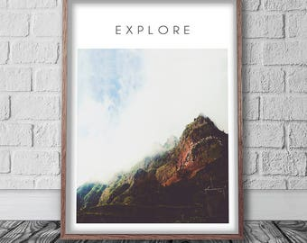 Explore Print, Mountain Wall Art, Digital Download, Printable Art, Nature Photography, Minimalist Poster, Scandinavian Print, Quote Art