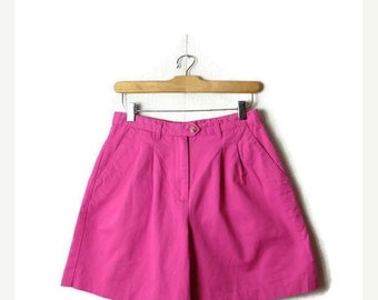 ON SALE Vintage Vivid Pink High Waist Cotton flare Shorts from 90's/W26*