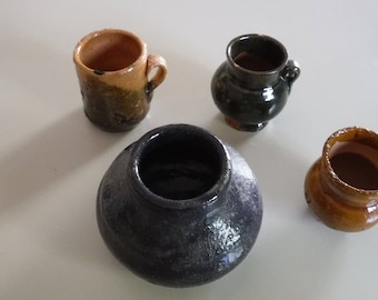 Miniature pottery, set of 4 tiny pots, Mexico, 1960's