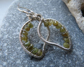 Green Leaves Wire Wrapped Earrings with Grossular Garnet