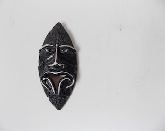 Vintage Ceramic Mask Sculpture Handmade Pottery Face Wall Hanging Tribal Tiki Style